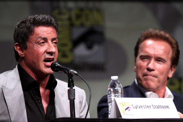 Sylvester Stallone & Arnold Schwarzenegger speaking at the 2012 San Diego Comic-Con International in San Diego, California.