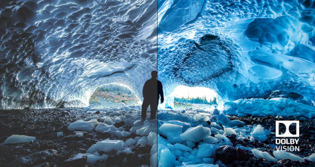 Eine in Dolby Vision dargestellte Eishöle.