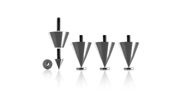 Spikes zum Ankoppeln von Lautsprechern. Absorber dienen dagegen zur Lautsprecher-Entkopplung.