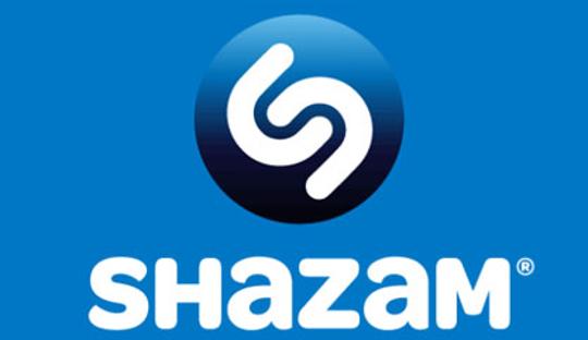 Logo der Musikerkennungs-App Shazam. Ein Lied suchen, während dies abgespielt wird