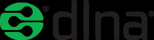 dlna Logo als Wort-Bild-Marke. NAS-Server werden auch als dlna-Geräte zertifiziert