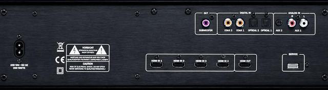 Lautsprecheranschlüsse an der Cinebar 52 THX.