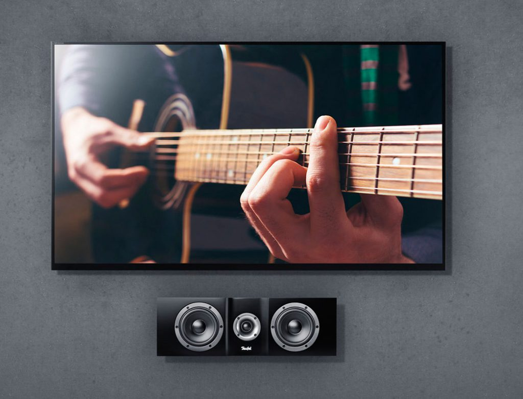 A wall mounted center speaker