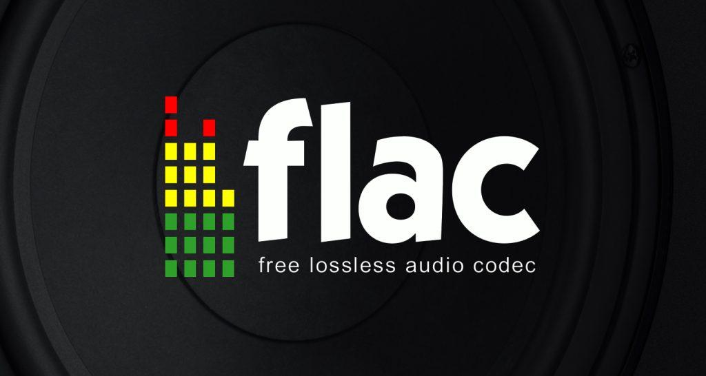 FLAC Logo (free lossless audio codec) auf schwarzem Hintergrund