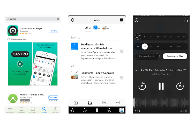 Screenshots der kostenpflichtigen iOS App Castro