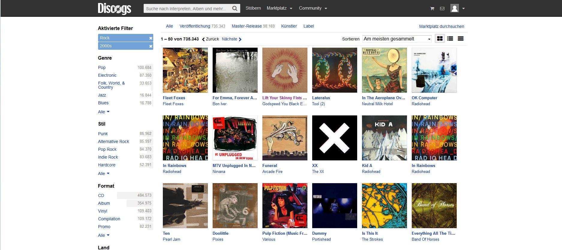 Der Screenshot zeigt die Stöbern-Rubrik von Discogs. In der Stöbern-Rubrik lässt sich neue Musik suchen.
