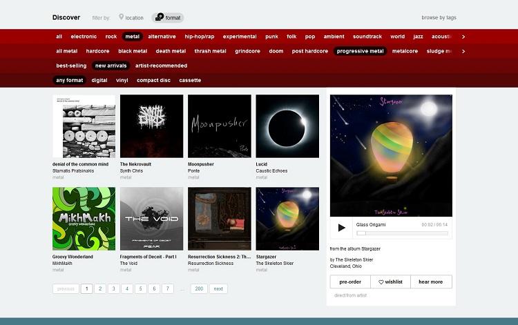 Screenshot Bandcamp Discover