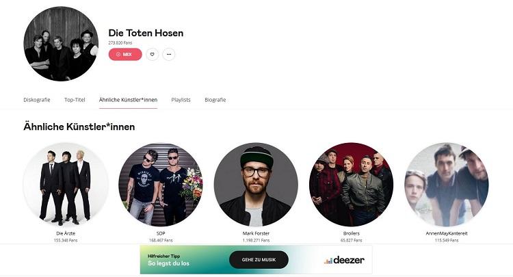 Screenshot Deezer Die Toten Hosen