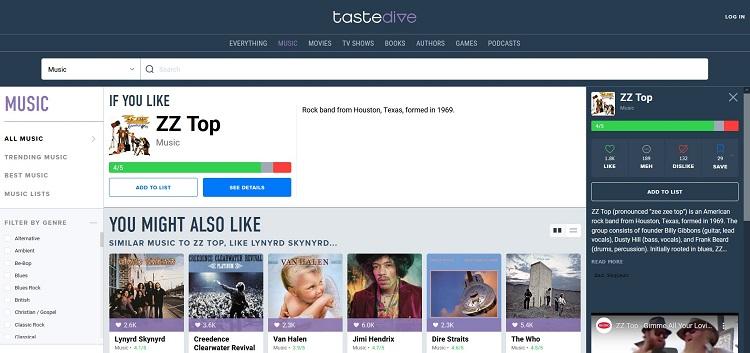 Screenshot TasteDive ZZ Top