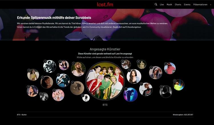 Screenshot last.fm Dashboard