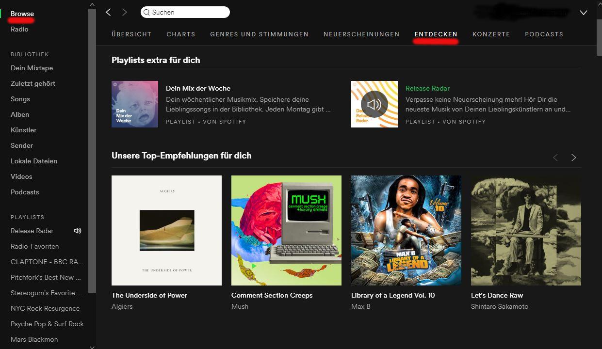 Onder het kopje Ontdekken kun je bij Spotify muziek zoeken die je nog niet kent
