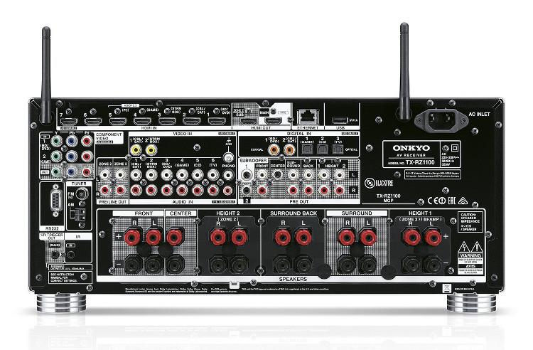 Dolby Atmos Receiver von Onkyo mit Anschlüssen auf der Rückseite
