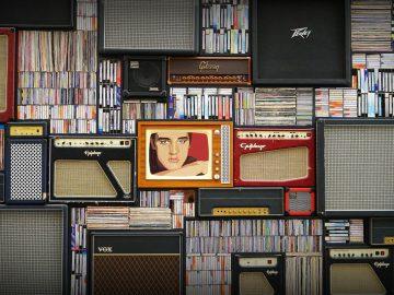Eine Wann aus Schallplatten,CDs und LAutsprechern