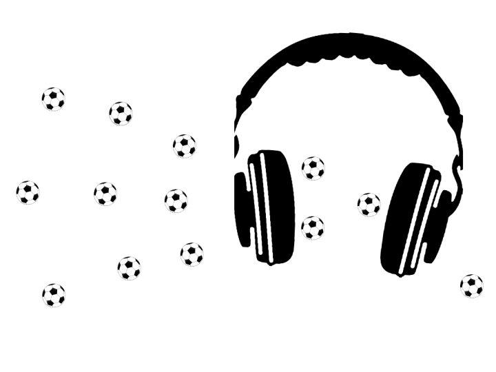 Grafik mit Kopfhörern und Fußbällen zur Illustration Fußball-Podcasts