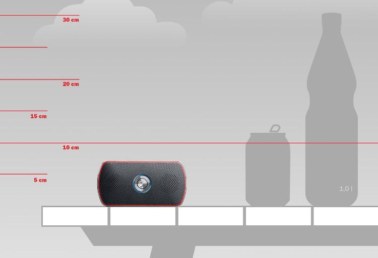 Grafische Darstellung des Bamster XS im vergleich zu einer Wasserflasche und einer Cola Dose.