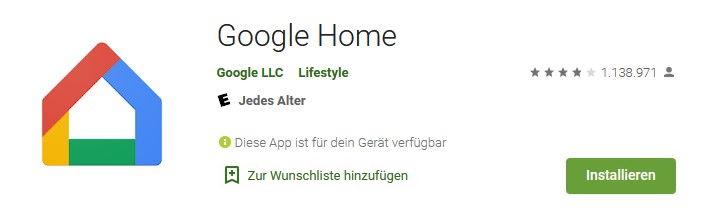 Google Home App im Google Play Store