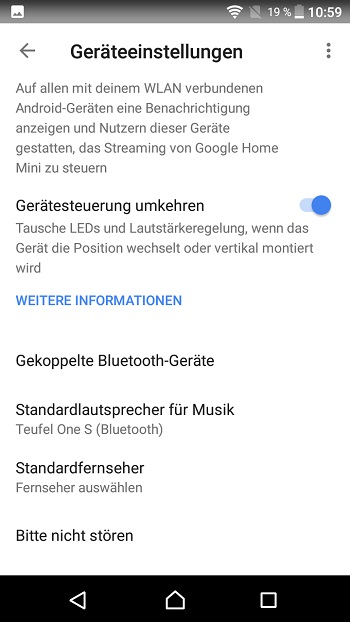 Google Home device settings