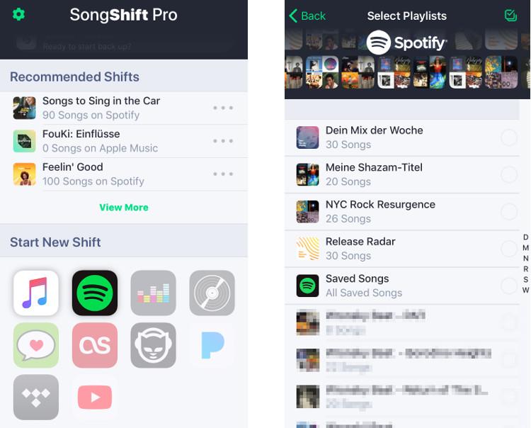 Mit SongShift lassen sich Spotify-Playlisten exportieren - auch als CSV-Datei.