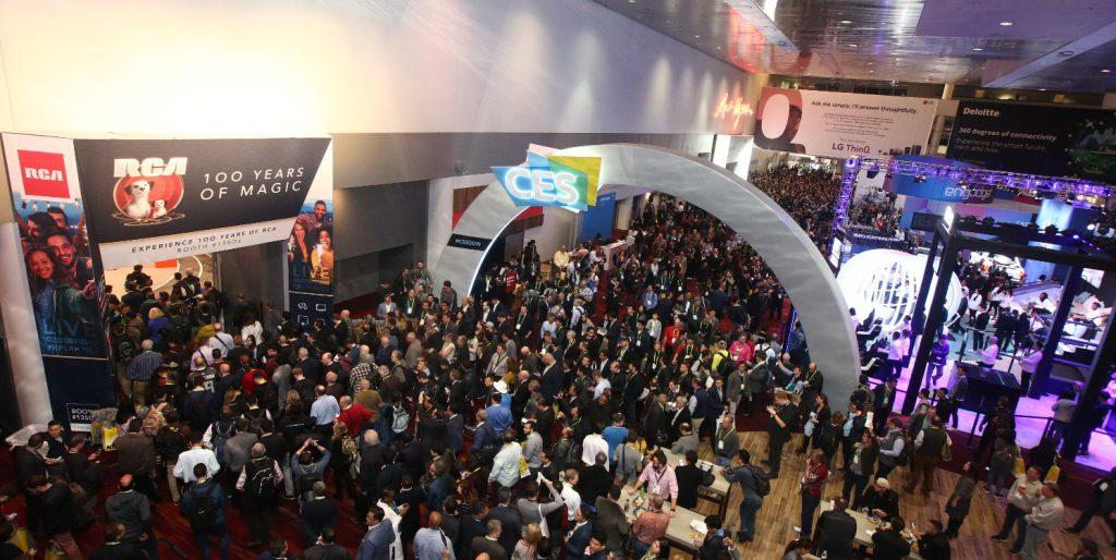 Luftaufnahme von einer der Hallen der CES 2019.