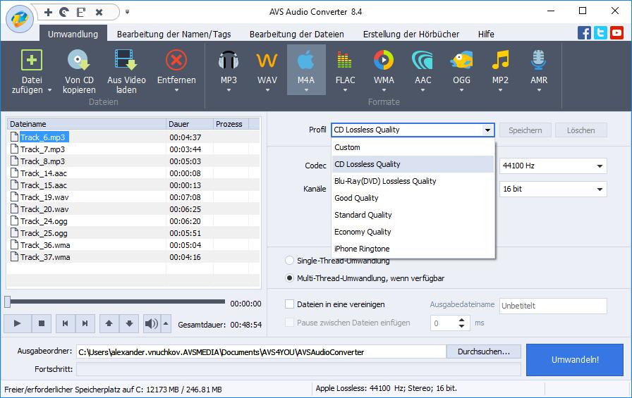 Bedienoberfläche vom AVS Audio Converter