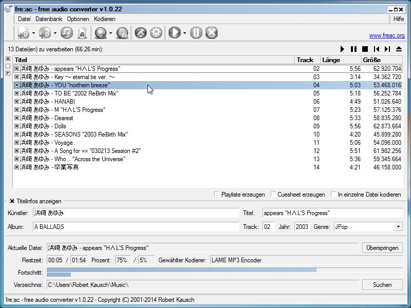 Benutzeroberfläche Audio Converter fre:ac