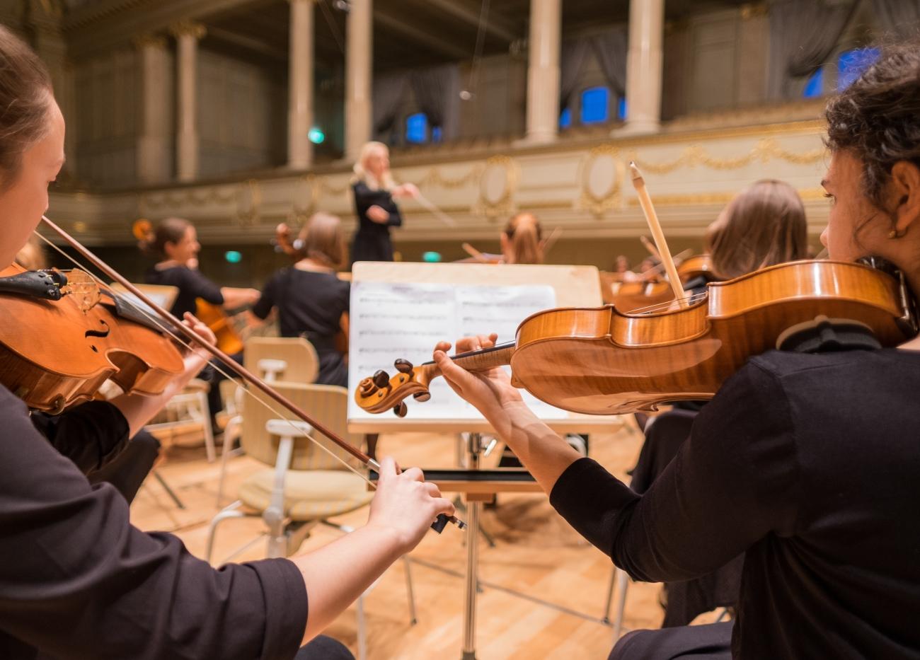 Blick auf Mitglieder eines Orchesters.