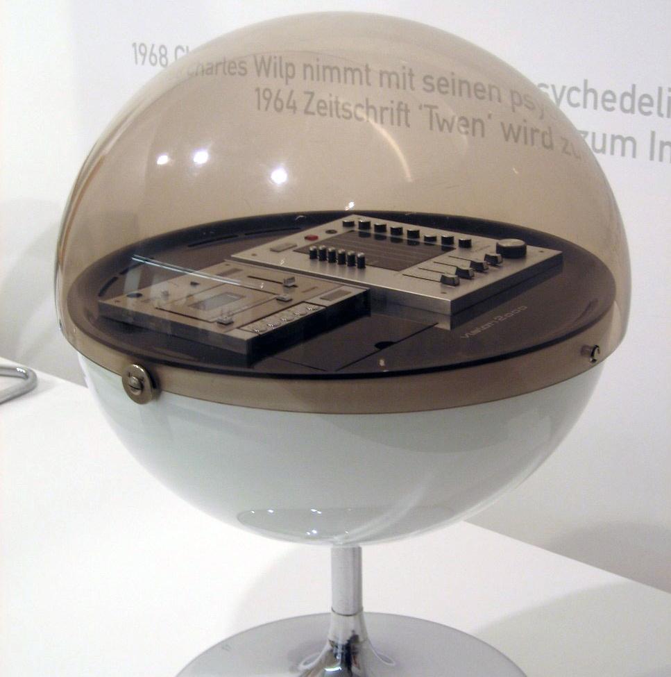 Runde Stereoanlage Vision 2000 von 1971 mit Abdeckhaube aus Acryl und Standfuß