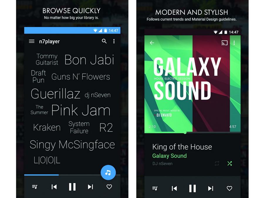 Screenshots Musik-Player-App n7player