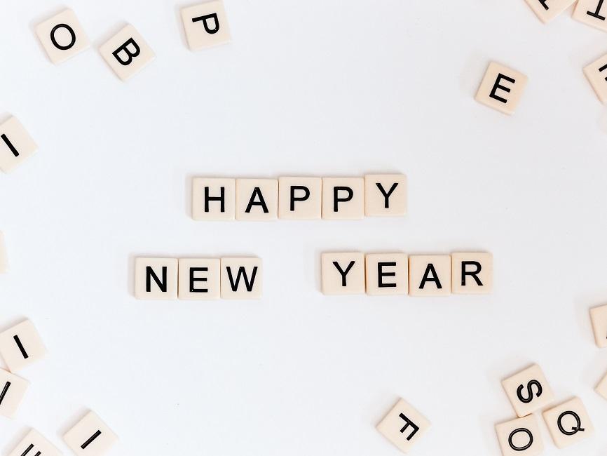 Buchstaben ergeben Happy New Year