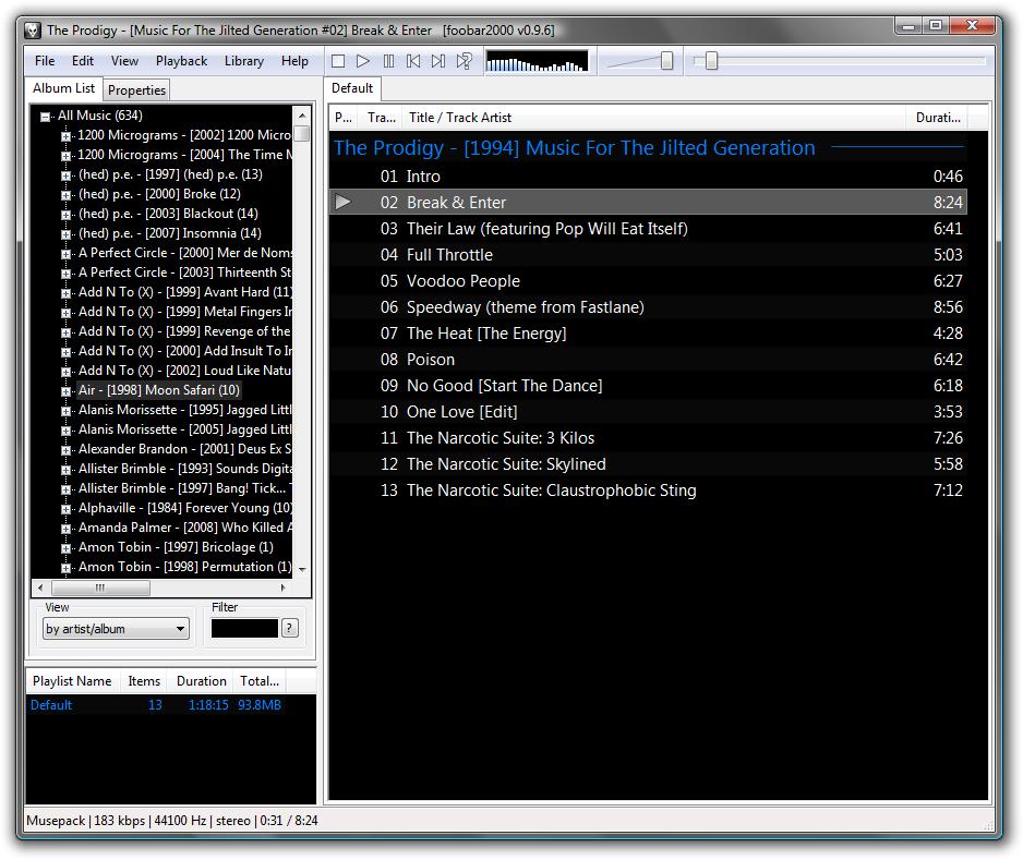 Screenshot foobar2000 Audio-Player