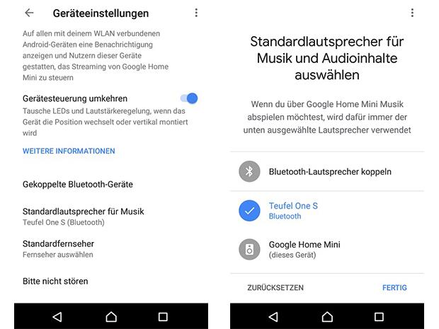 Geräteeinstellungen in der Google Home App vornehmen