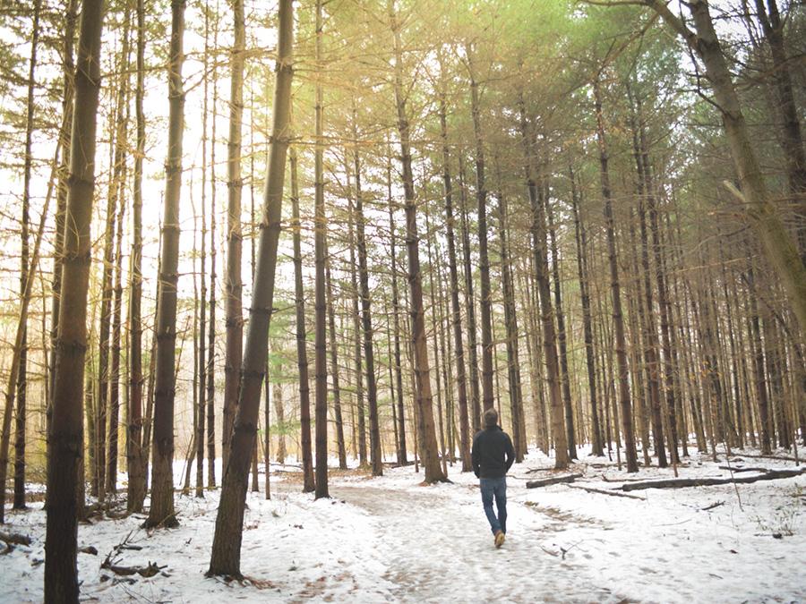 Mann im Wald im Winter