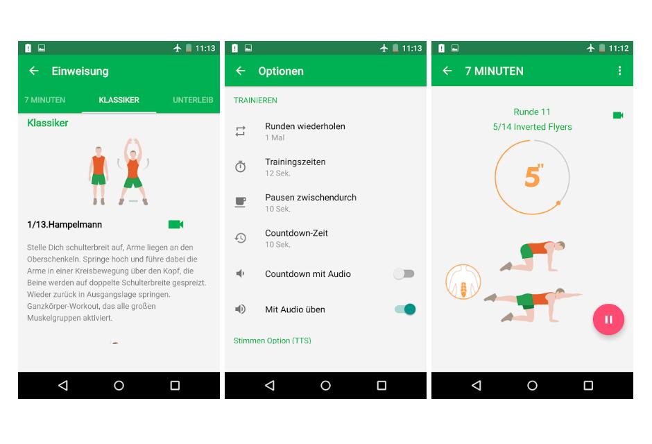 Screenshots der App 7-Minuten-Training